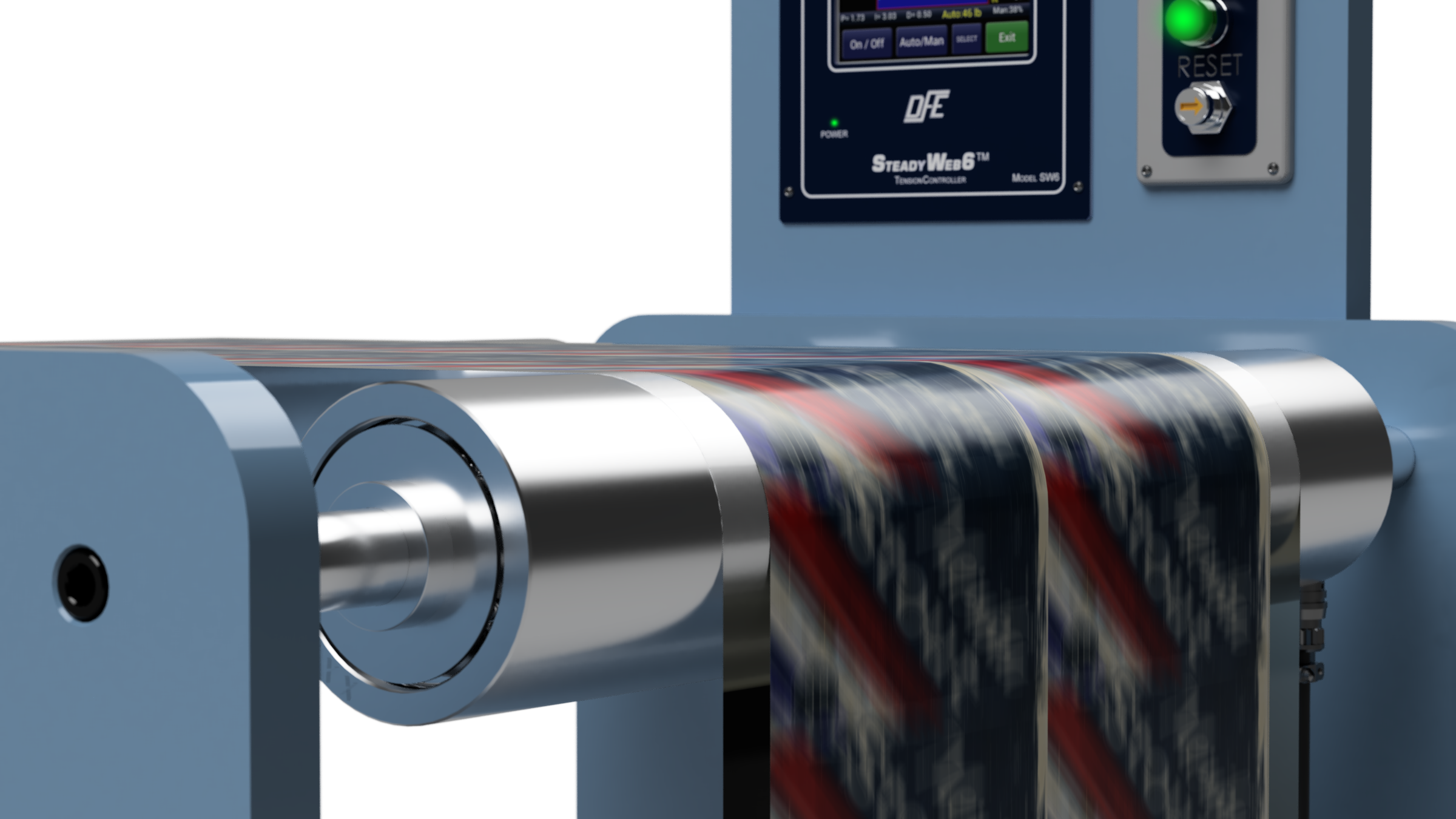 Printing press with Tension Roll Transducer